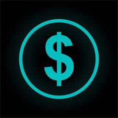Neon Button rund - Dollar
