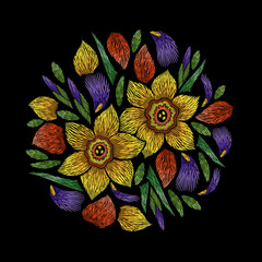 Embroidery circle floral pattern with narcissus and iris petals