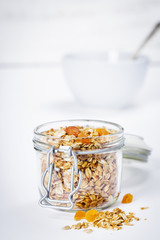 Homemade oatmeal granola with fruits and nuts