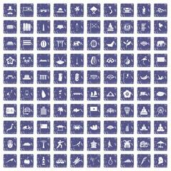 100 asian icons set grunge sapphire