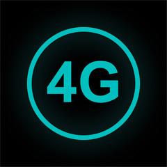 Neon Button rund - 4G-Symbol