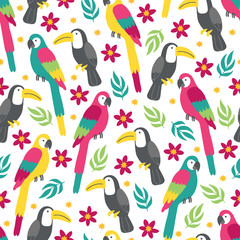 Seamless pattern with plumeria, macaw, toucan, tropical leaves and flowers