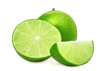 whole and half with slice fresh green lime isolated on white background