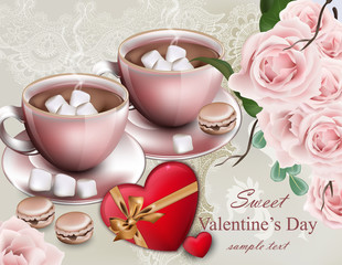 Hot chocolate cups Valentine day card. Delicate composition flower bouquet Vector
