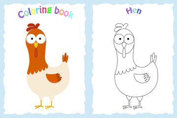 Coloring book page for preschool children with colorful hen and sketch to color
