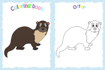 Coloring book page for preschool children with colorful otter and sketch to color