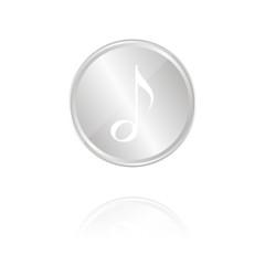 Musiknote - Silber Münze mit Reflektion