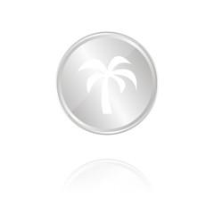 Palme - Silber Münze mit Reflektion