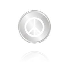 Peace-Symbol - Silber Münze mit Reflektion