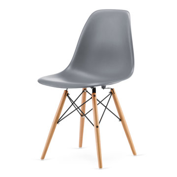 Plastic, modern design kitchen chair isolated on white background