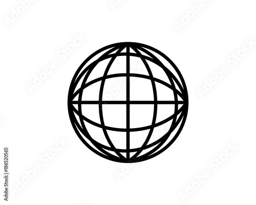 Line Art Circle Globe Of The World Symbol Vector Stock Image And
