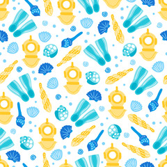 Seamless pattern with diving helmet, shell and flippers