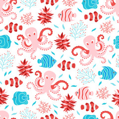 Seamless pattern with octopus, fish and seaweed