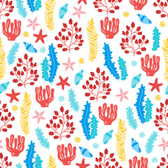 Seamless pattern with starfish, shell and seaweed