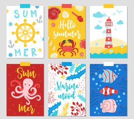 Set of six ocean cards with anchor, crab, lighthouse, octopus