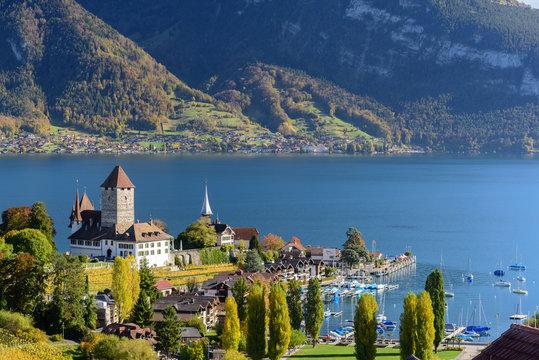 Beautiful landscape of lake Thun in Switzerland during autumn season from Spiez train station