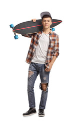 Teenage hipster with a longboard