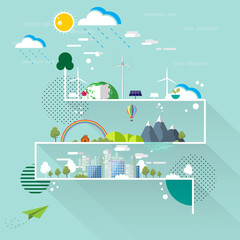 Eco and nature concept.Flat line design and poster design with simple shapes vector illustration.