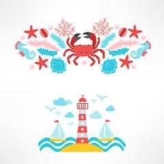 Set of ocean designs with crab, sea horse, seaweed, starfish