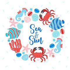 Ocean wreath with crab, fish, sea horse, starfish, shell