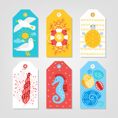 Set of ocean Gift Tags with seagull, sun, cloud, turtle