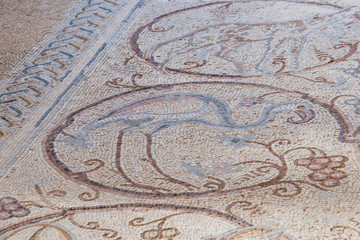 Fragment of a mosaic on a floor in a The Good Samaritan Museum Near Kfar Adumim in Israel