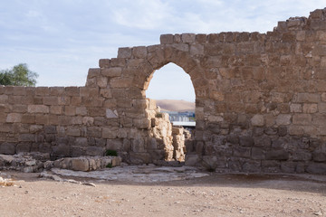 Fragment  of Monastery of St. Euthymius ruins located in Ma'ale Adumim industrial zone in Israel