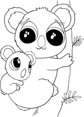 Cute Koala Bears Vector Illustration Art