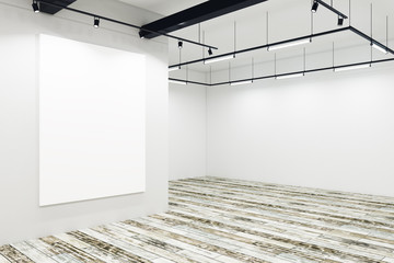Modern gallery with empty banner
