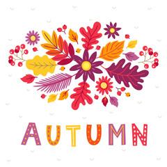 Autumn greeting card with flower, rowan, oak leaves