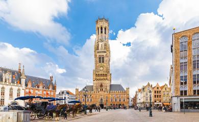Wall Mural - Grote Markt square in medieval city Brugge, Belgium.