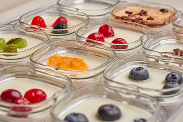 homemade yogurt with various kinds of fillings
