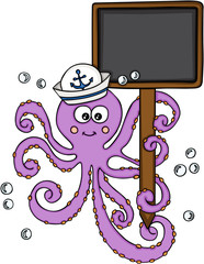 Octopus with sailor hat holding a blank wood sign