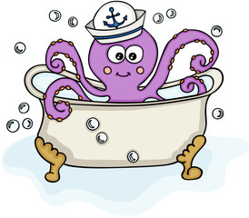 Octopus with sailor hat in bathtub