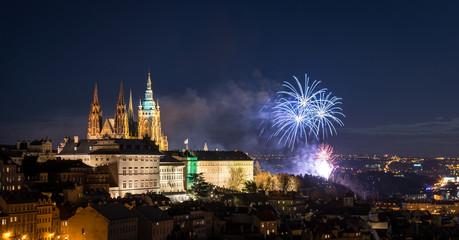 Poster Prague Prague at night, Saint Vitus Cathedral in Czech Republic