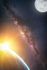Wall Mural - Landscape with Milky way galaxy. Sunrise and Earth view from space with Milky way galaxy and full moon. (Elements of this image furnished by NASA)