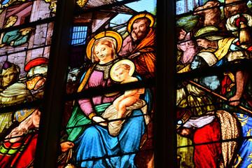 Triel sur Seine; France - august 27 2017 : historical Saint Martin church
