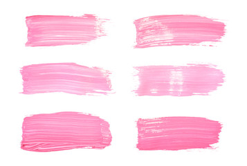 Vector pink paint smear stroke stain set. Abstract pink glittering textured art illustration. Acrylic Texture Paint Stain Illustration. Hand drawn brush strokes vector elements. Acrilyc strokes.