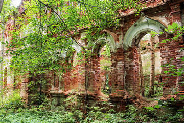 Monastery walls in the forest.