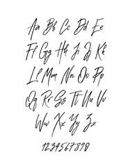 Handwritten brush style modern cursive font isolated on white background.
