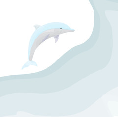Vector illustration of watercolor dolphin jumps over the waves of ocean