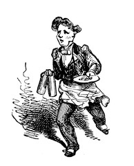 Vintage caricature of waiter running with two mugs and a plate