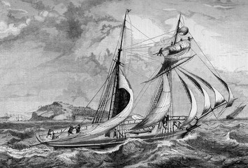 Vintage engraving,two-mast sailing ship with stormy weather