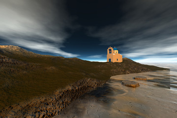 Afternoon view on the island, a white church with a bell tower, foam in the sea and a blue sky.