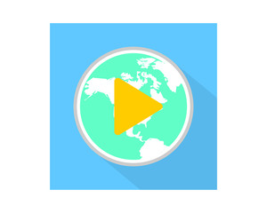 earth play icon audio start record image vector