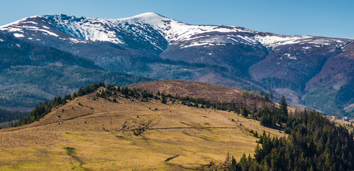 Borzhava mountain ridge with snowy tops. lovely nature scenery of Carpathians in springtime