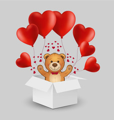 Vector white gift box with red heart balloons and teddy bear. Happy Valentine's illustration