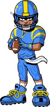 Black African American Football Player cartoon clipart