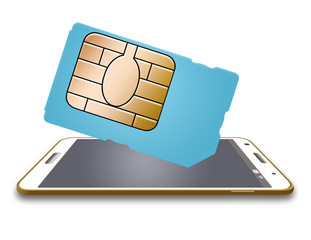 This is a generic SIM card for a cellular phone. SIM is a subscriber identification module that stores data and security keys to connect the users phone to cellular service. Isolated on the background