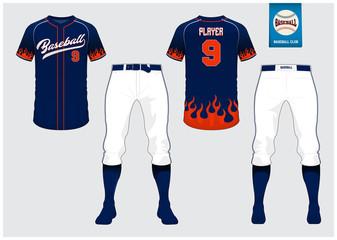 Baseball jersey, sport uniform, raglan t-shirt sport, short, sock template. Baseball t-shirt mock up. Front and back view baseball uniform. Flat baseball logo on blue label. Vector Illustration.